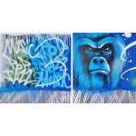 Set de 2 tableaux Street Art GORILLE (Bleu)