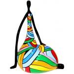 Escultura de estatua diseño decorativo WOMAN LOTUS en resina H50 cm (multicolor)