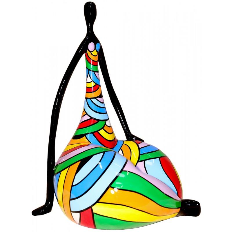 Statue sculpture décorative design FEMME LOTUS en résine H50 cm (Multicolore) - image 49255
