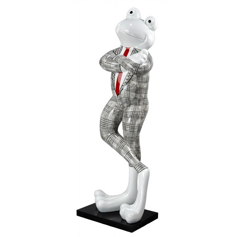 Statue sculpture décorative design GRENOUILLE DEBOUT en résine H180 cm (Noir, blanc)
