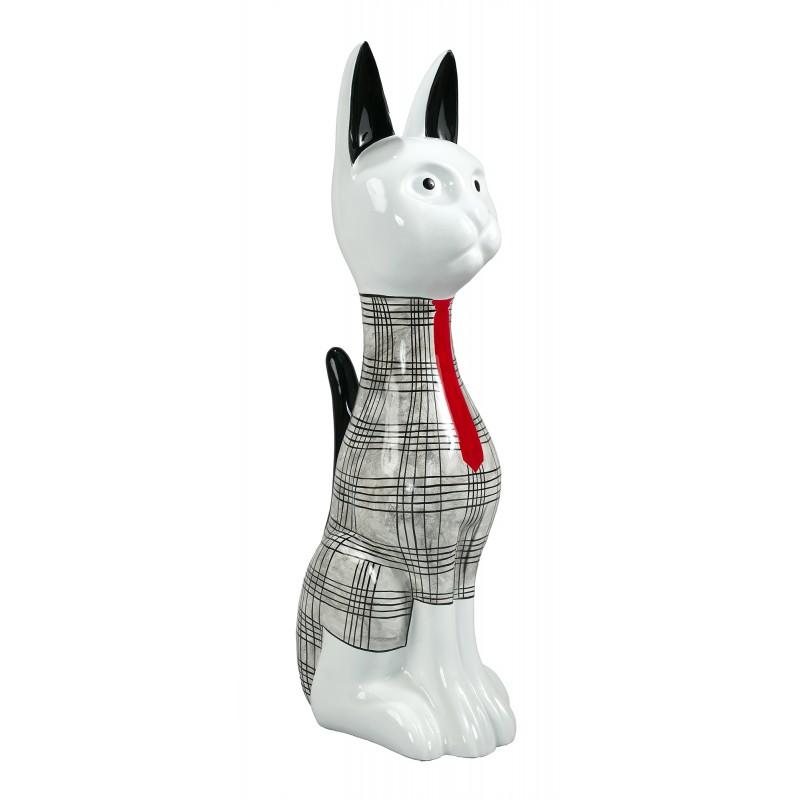 Statue sculpture décorative design CHAT DEBOUT en résine H97 cm (Noir, blanc)