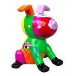Diseño de escultura decorativa de estatua CHIEN ASSIS POP ART en resina H50 cm (multicolor)