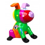 Statue decorative sculpture design CHIEN ASSIS POP ART in resin H50 cm (Multicolored)