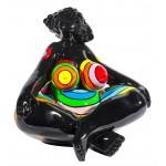 Statue decorative sculpture design WOMAN EXOTIC LOTUS in resin H40 cm (Multicolored)