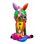 Statue sculpture décorative design CHEVAL ASSIS POP ART en résine H36 cm (Multicolore)