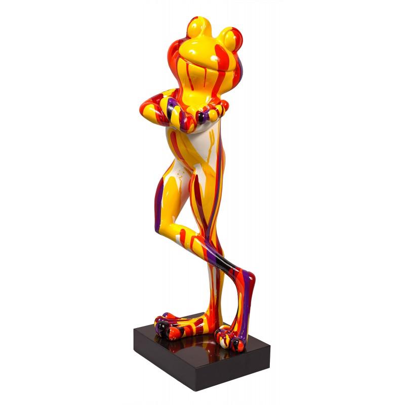 Statue dekorative Schnitzerei Design FROSCHEN STEHFRÖSCHEN TRASH aus H77 cm Harz (Bunte) - image 49277