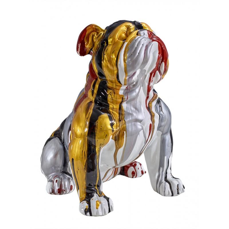 Statue sculpture décorative design CHIEN BOULEDOGUE en résine H45 cm (Multicolore)