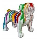 Diseño de escultura decorativa de estatua CHIEN BOULEDOGUE XL en resina H95 cm (multicolor)