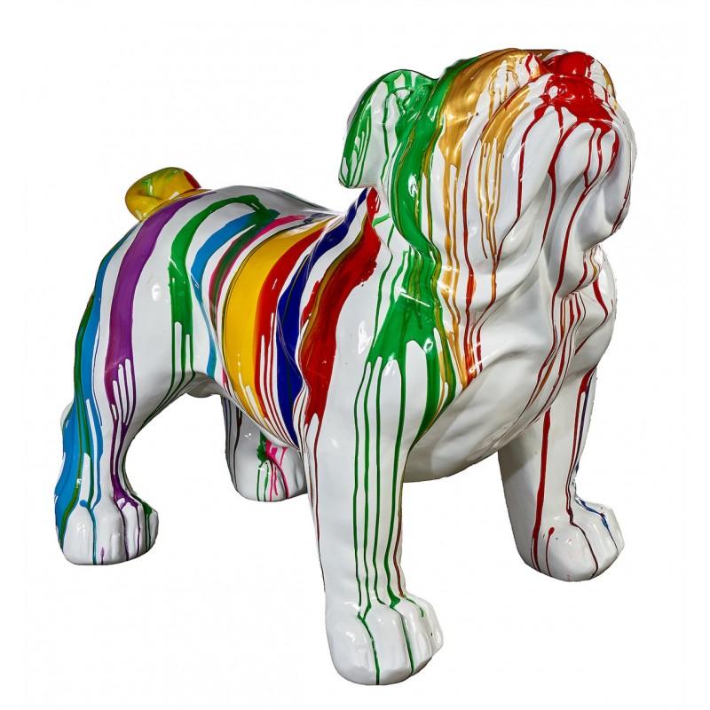 Statue sculpture décorative design CHIEN BOULEDOGUE XL en résine H95 cm (Multicolore)