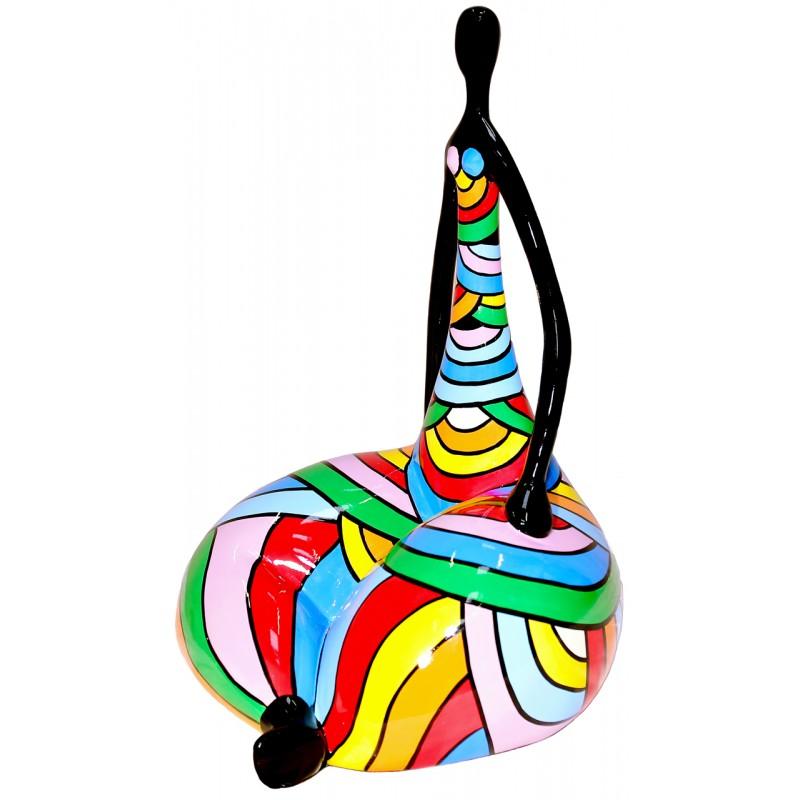 Statue sculpture décorative design FEMME LOTUS en résine H50 cm (Multicolore) - image 49293