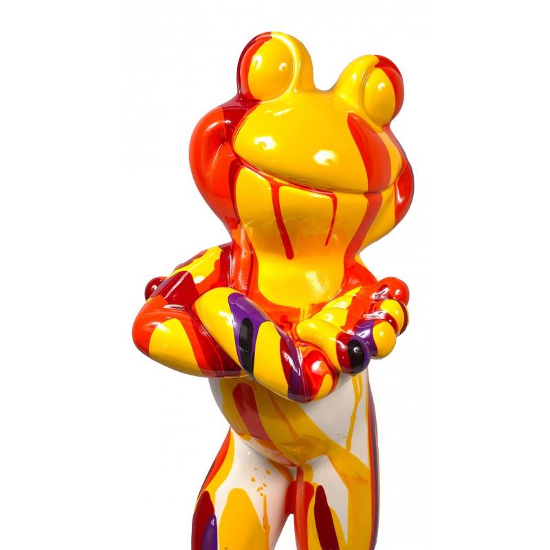 Statue sculpture décorative design GRENOUILLE DEBOUT TRASH en résine H77 cm (Multicolore) - image 49311