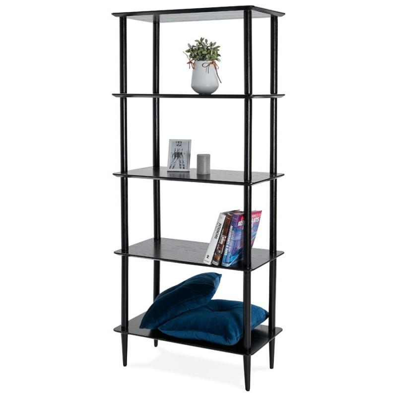 Diseño de biblioteca ampliada estilo escandinavo en roble ERIKA (negro) - image 49380