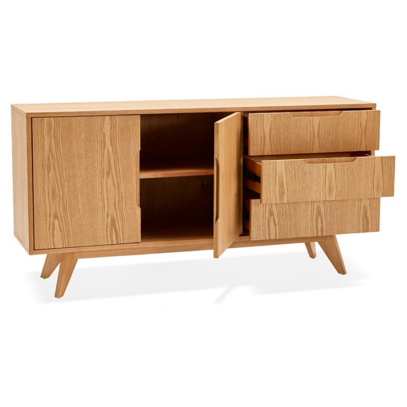 Buffet enfilade design 2 portes 3 tiroirs en bois MELINA (naturel) - image 49393