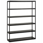Extended library design industrial style in wood and metal AKARI (black)