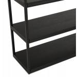 Diseño de biblioteca ampliada estilo industrial en madera y metal AKARI (negro)