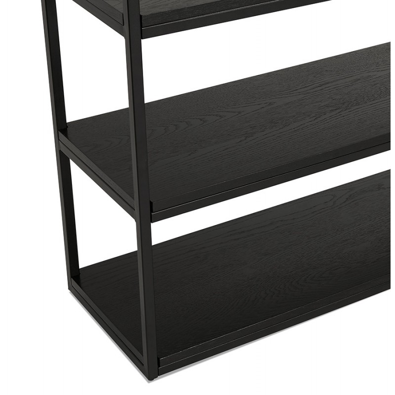 Diseño de biblioteca ampliada estilo industrial en madera y metal AKARI (negro) - image 49411