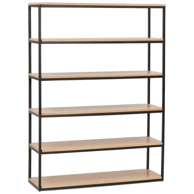 Design esteso biblioteca stile industriale in legno e metallo AKARI (naturale) - image 49420