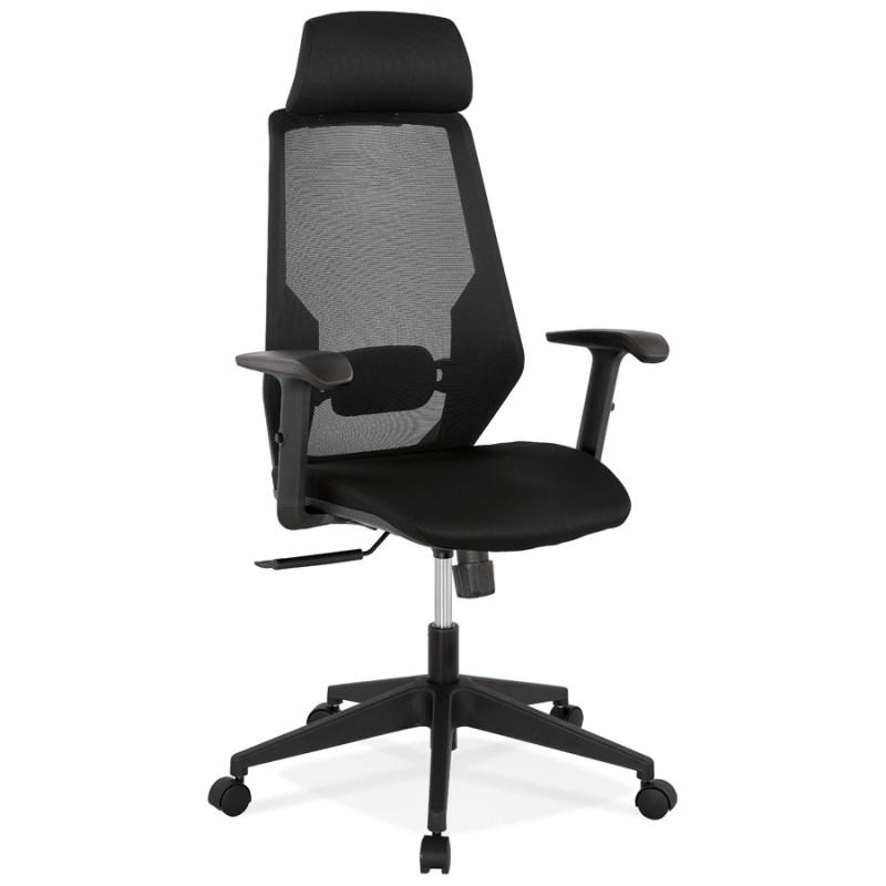Fauteuil de bureau ergonomique en tissu AMAYA (noir) - image 49477