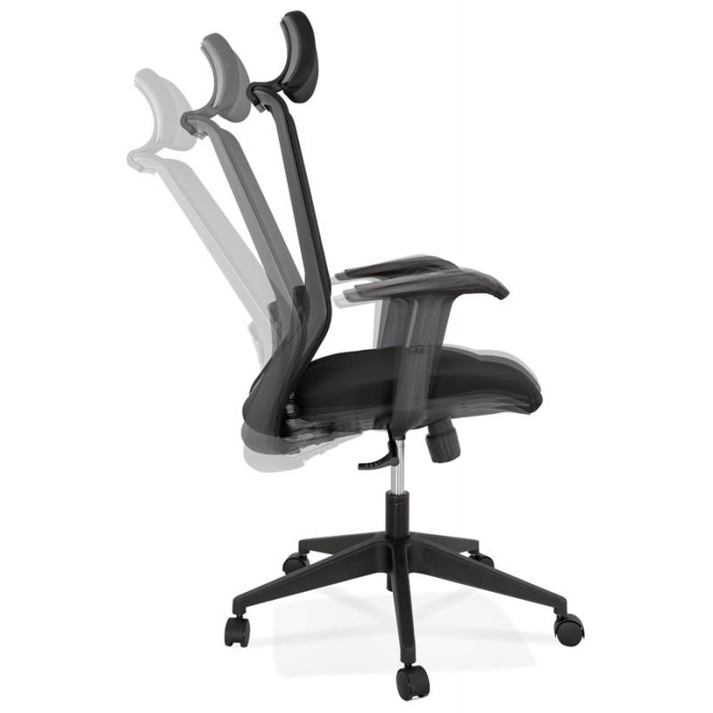 Fauteuil de bureau ergonomique en tissu AMAYA (noir) - image 49481