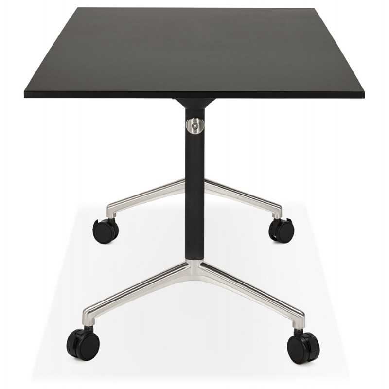 Table pliante sur roulettes  en bois pieds noirs SAYA (160x80 cm) (noir) - image 49489