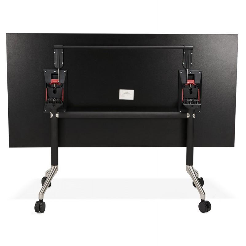 Table pliante sur roulettes  en bois pieds noirs SAYA (160x80 cm) (noir) - image 49491