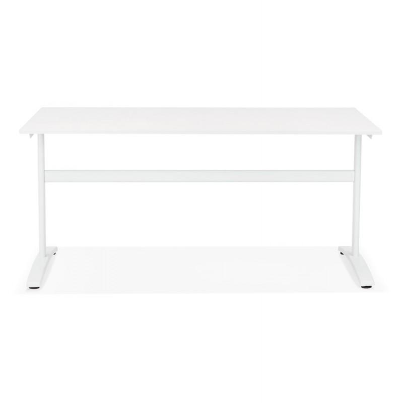 Bureau droit en bois pieds blanc SONA (160x80 cm) (blanc) - image 49501