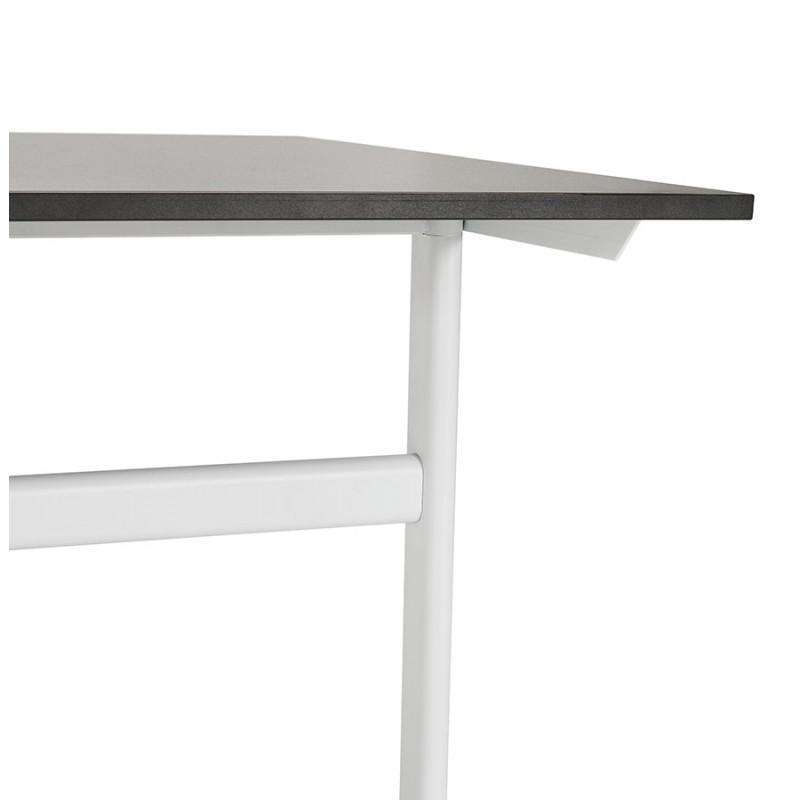 Bureau droit en bois pieds blanc SONA (160x80 cm) (noir) - image 49515