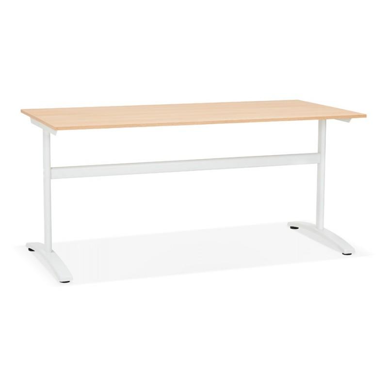Bureau droit en bois pieds blanc SONA (160x80 cm) (finition naturelle)