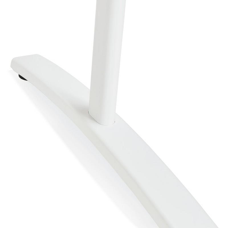 Bureau droit en bois pieds blanc SONA (160x80 cm) (finition naturelle) - image 49528