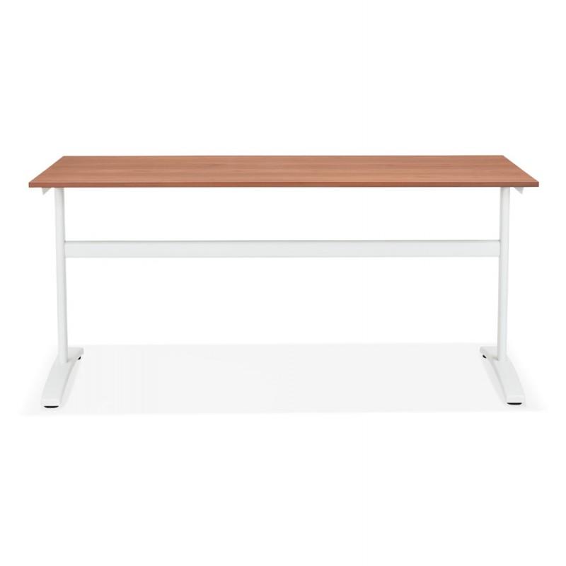 Bureau droit en bois pieds blanc SONA (160x80 cm) (finition noyer) - image 49531