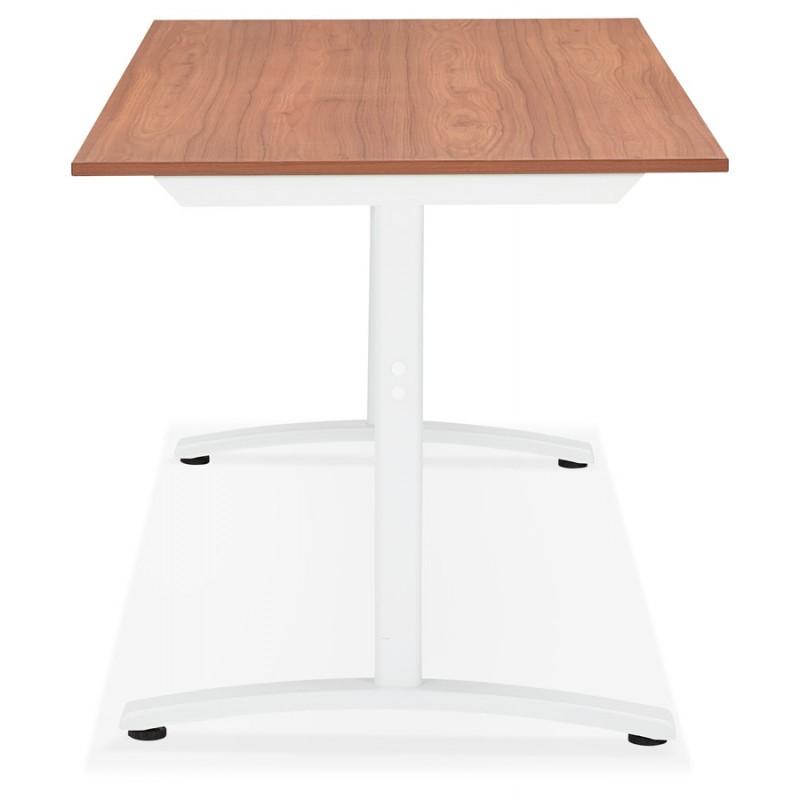 Bureau droit en bois pieds blanc SONA (160x80 cm) (finition noyer) - image 49532