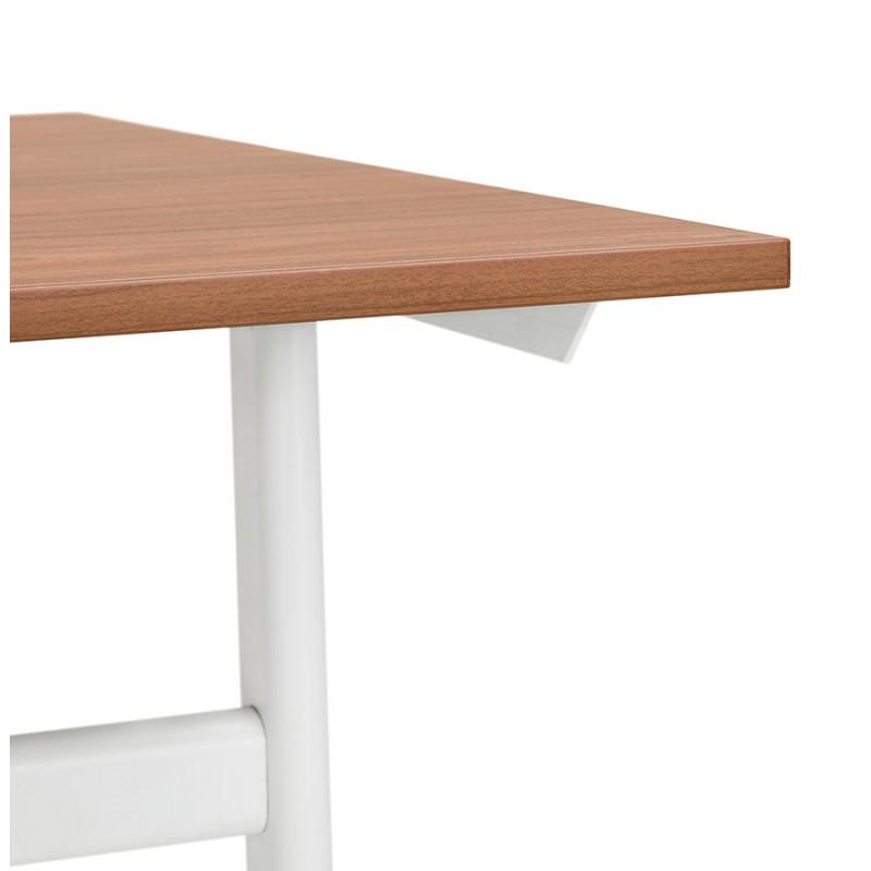 Bureau droit en bois pieds blanc SONA (160x80 cm) (finition noyer) - image 49534