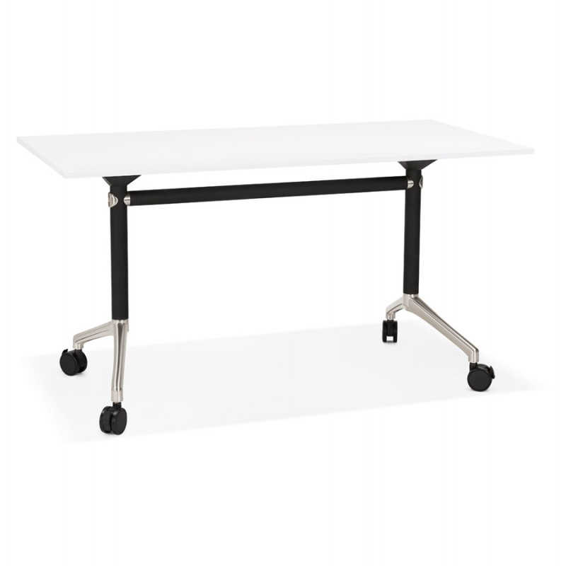 SAYA mesa de tarima de madera de patas negras (140x70 cm) (blanco)