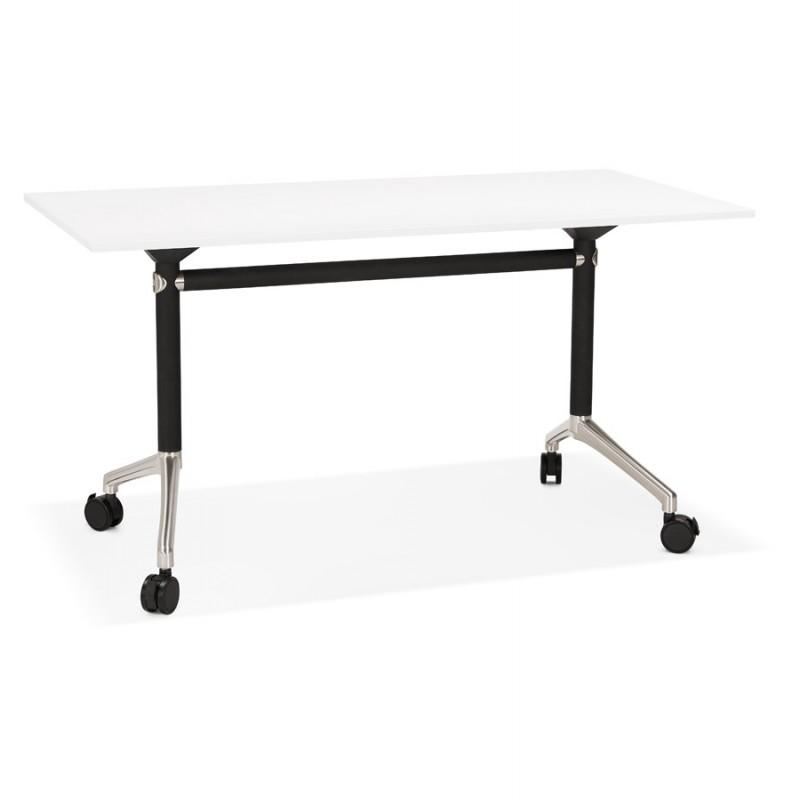Tavolo a ruote in legno dai piedi neri SAYA (140x70 cm) (bianco)