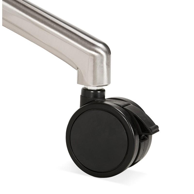 Table pliante sur roulettes en bois pieds noirs SAYA (140x70 cm) (blanc) - image 49552
