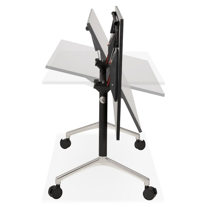 SAYA black-footed wooden wheely table (140x70 cm) (black) - image 49558