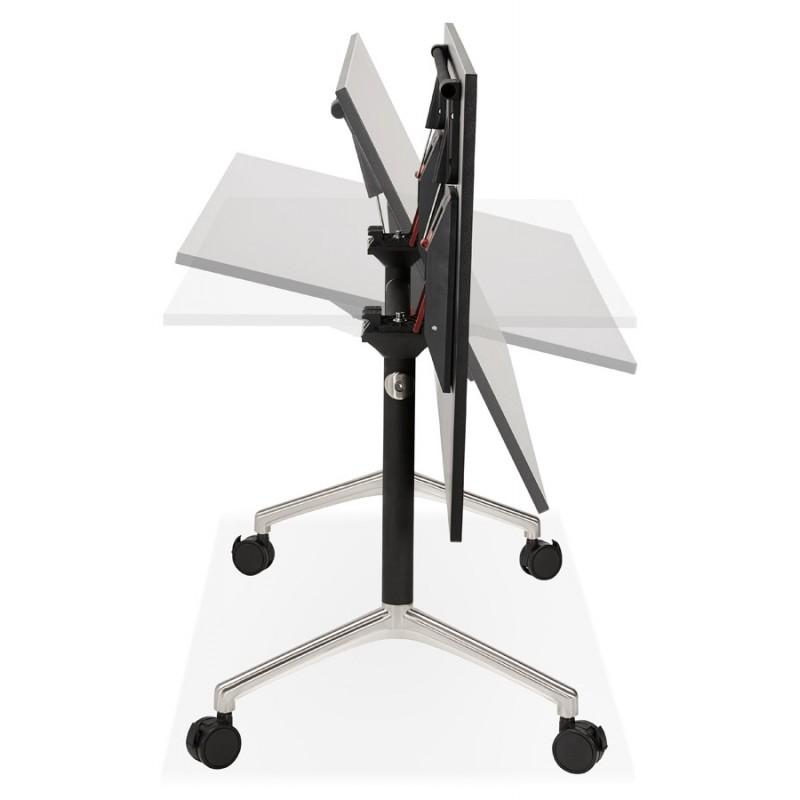 Table pliante sur roulettes en bois pieds noirs SAYA (140x70 cm) (noir) - image 49558