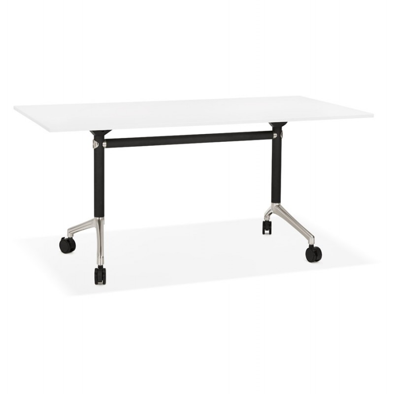 SAYA black-footed wooden wheely table (160x80 cm) (white)