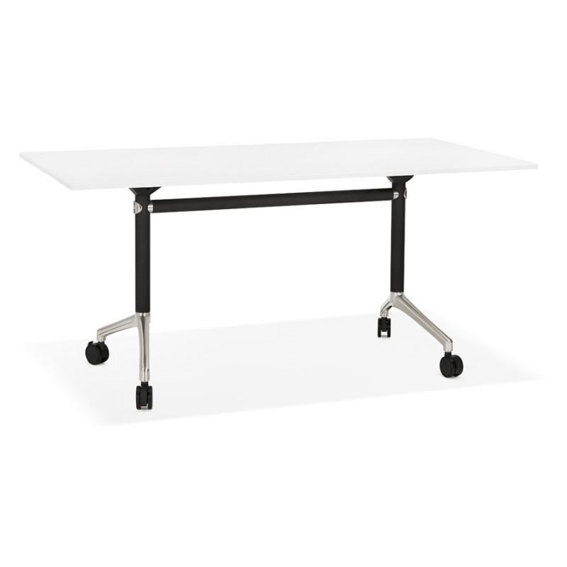 Table pliante sur roulettes en bois pieds noirs SAYA (160x80 cm) (blanc)