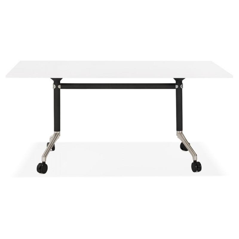 Table pliante sur roulettes en bois pieds noirs SAYA (160x80 cm) (blanc) - image 49567