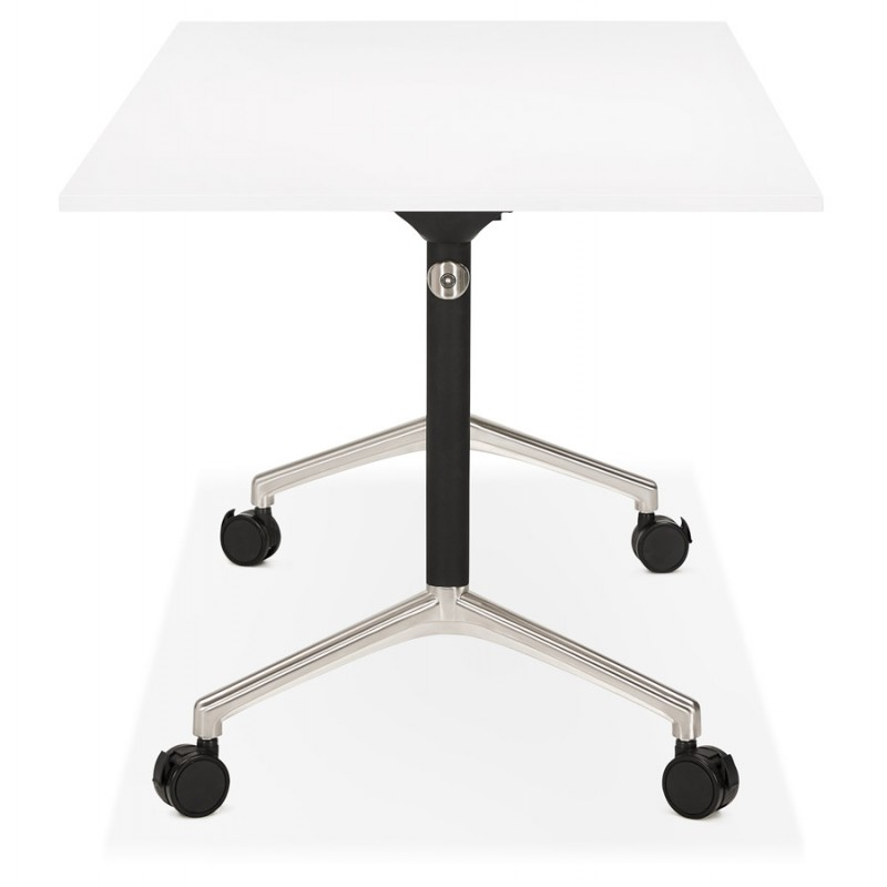SAYA black-footed wooden wheely table (160x80 cm) (white) - image 49568
