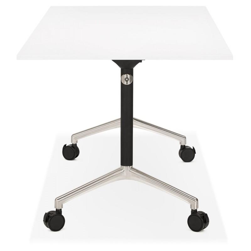 Table pliante sur roulettes en bois pieds noirs SAYA (160x80 cm) (blanc) - image 49568