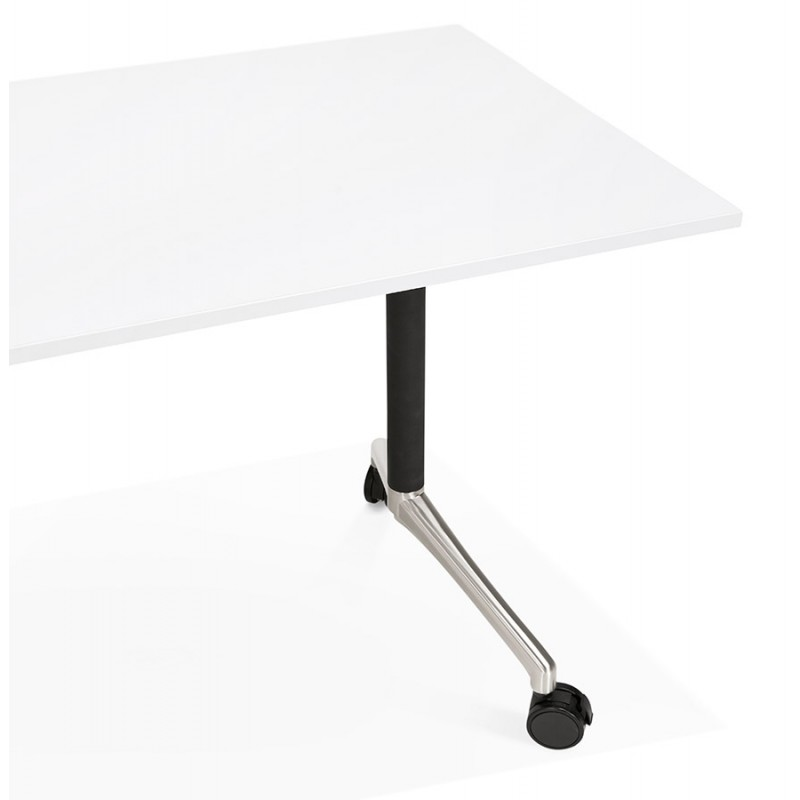 SAYA black-footed wooden wheely table (160x80 cm) (white) - image 49572