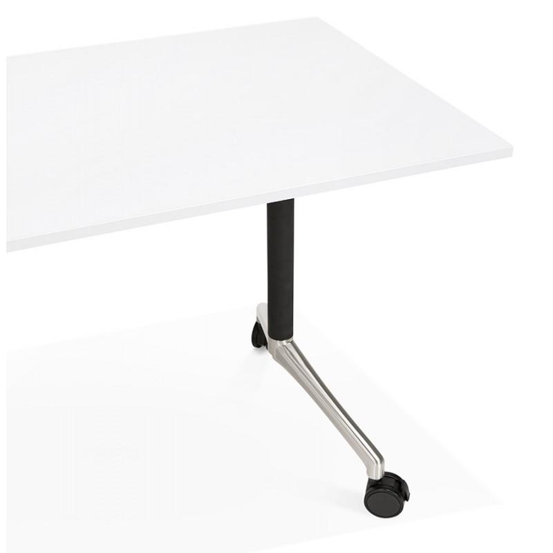 Table pliante sur roulettes en bois pieds noirs SAYA (160x80 cm) (blanc) - image 49572