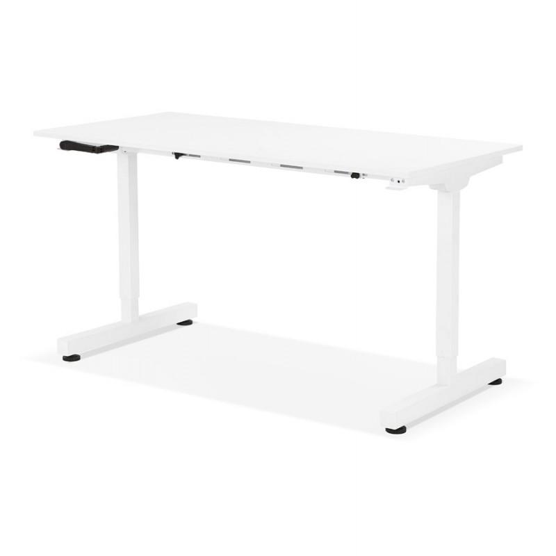 Bureau assis debout en bois pieds blanc cassé NAOMIE (140x70 cm) (blanc) - image 49597