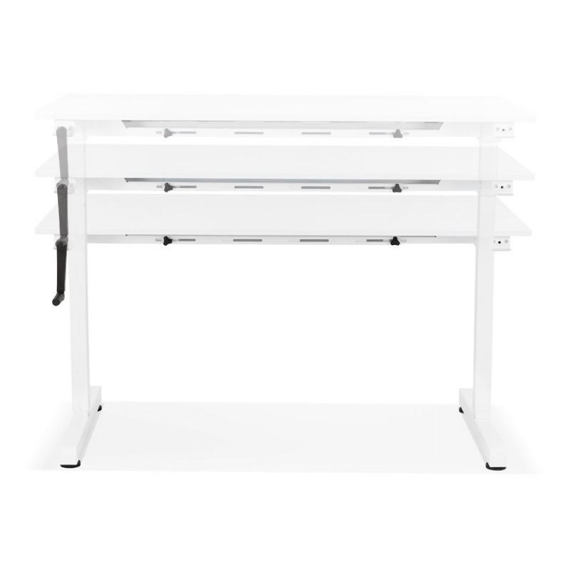 Bureau assis debout en bois pieds blanc cassé NAOMIE (140x70 cm) (blanc) - image 49598