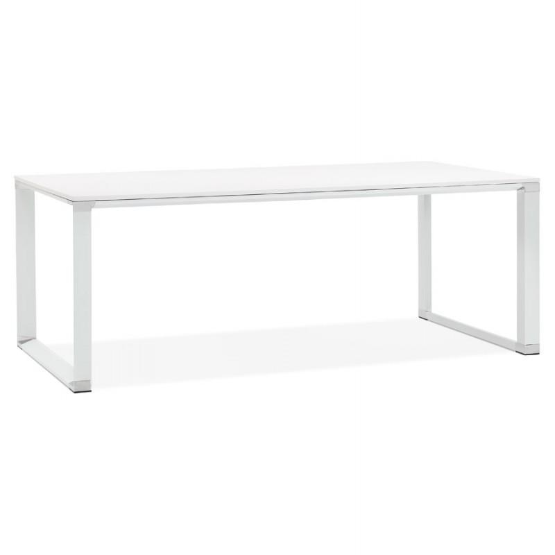 Bureau droit design en bois pieds blanc BOUNY (200x100 cm) (blanc) - image 49614