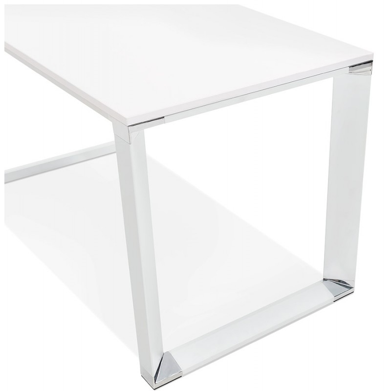 Bureau droit design en bois pieds blanc BOUNY (200x100 cm) (blanc) - image 49618