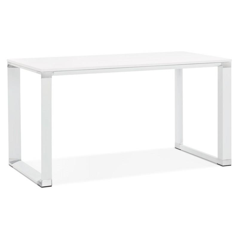 Bureau droit design en bois pieds blanc BOUNY (140x70 cm) (blanc)