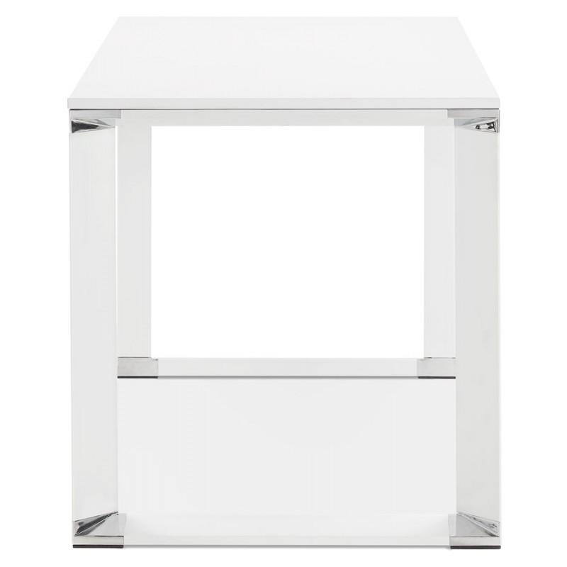 Bureau droit design en bois pieds blanc BOUNY (140x70 cm) (blanc) - image 49636